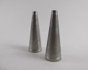 Vintage Mid Century Danish Modern Hammered Pewter Pillars Salt & Pepper Shakers