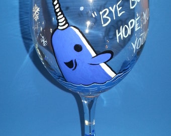 Mr Narwhal Wine Glass Hand Painted Elf Buddy