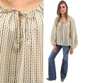On Sale - Vintage 70s Bishop Sleeve Boho Top, Peasant, Blouse, Lillie Rubin, Key-Hole, Bohemian Top ΔΔ sm / md