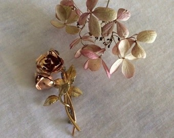 Rose Pin Pink and Gold Rose Brooch Flower Jewelry Vintage Double Rose Pin Leaves and Roses Brooch Romantic Roses Winter Christmas Gift