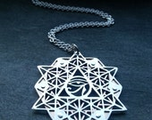 64 Tetrahedron Eye of Ra Grid Pendant - handcut sterling silver and copper