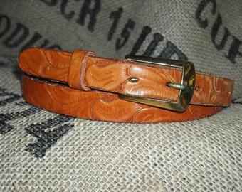 Vintage Leather Belt, Women's Brown Leather Belt, Stamped Leather belt
