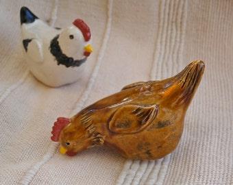 Brown hen figurine, miniature ceramic chicken, small pecking hen sculpture