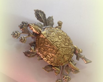 Turtle with Berry Branches Brooch