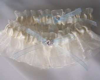 Wedding Garter Satin and Organza, Something Blue Bow and Topped with Rhinestones Soft and Shimmer