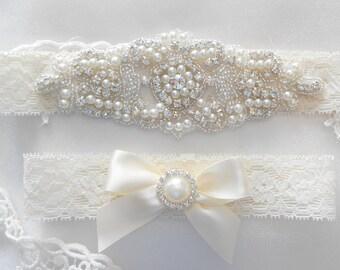 Wedding Garter Set Stretch Lace 3 Colors Monogram Option Bridal Garter Set With Classic Pearls and  Rhinestones Bridal Garter Set.