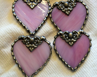 Heart (Pink) Stained Glass Pin / Brooch