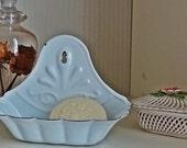 French Enamel Soap Dish, Vintage French Soap Dish, Scalloped Enamel Vintage Soap Bowl
