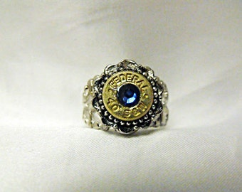 Bullet Ring 40 Caliber  With Deep Blue Crystal Rhinestone, Adjustable   Mens Womens Gift Handmade