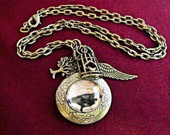 Bronze Locket Necklace,   Gothic Edgar Allan Poe Raven Locket With Charms    Womens Gift  Handmade