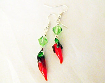 Silver Dangled Earrings,  Red Hot Chili Peppers Glass With Swarovski Crystal Beads, Womes Gift  Handmade