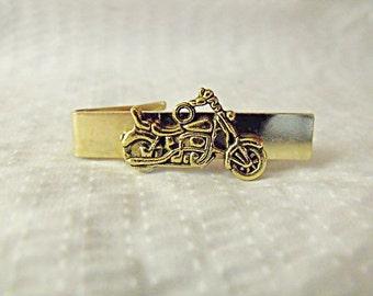 Tie Bar Tie Clip,  Mens Goldtone Motorcycle   Mens Accessories  Handmade