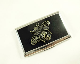 Buisiness Card or Credit Card Holder, Giant Brass Bee Mens Womens Gift  Handmade