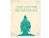 Buddha Find Your Own Light Inspirational Modern Yoga Art Print Poster New Age Buddha Zen Quote