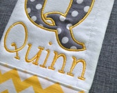 Appliqué large letter Burp Cloth: You pick fabric & font (choose from over 40 different modern fabrics)