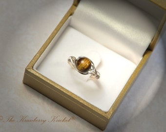 Golden Tiger Eye Ring, Boho Ring, Bohemian Ring, Cats Eye Ring Custom Size