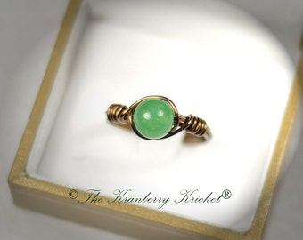 Green Jade Gemstone Ring in Bronze, Yoga Chakra Healing Ring, Anahata, Reiki Earrings, 4th chakra, Heart Chakra support
