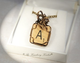 Letter A Necklace, Initial A Necklace, Vintage Scrabble Tile Necklace in Brass, Repurposed necklace