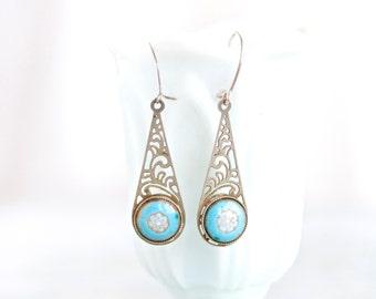 Blue Flowers on filigree Earrings - Vintage Jewelry