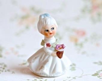 Bisque Flower Girl -  Little Vintage Porcelain Figurine