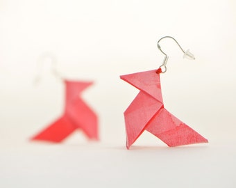 Red origami earrings - sterling silver hooks and silk