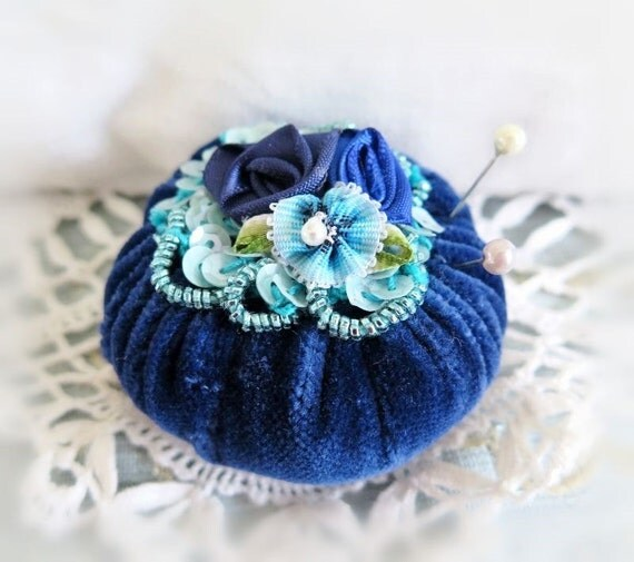 Pincushion Pin Keeper MINI Pinnie 2 inch DARK Blue Velvet Puff  Pincushion Handmade CharlotteStyle Sewing Needlecraft