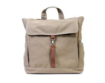KYLE // Sandy Brown / Lined with Beige / 098 // Ship in 3 days // Backpack / Diaper bag / Shoulder bag / Tote bag / Purse / Gym bag