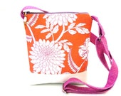 Crossbody bag, orange handbag, zipper hip purse, cross body bag, sling purse, coral pink, floral, chrysanthemum, vegan shop, festival, white