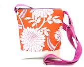 Crossbody bag, orange handbag, zipper hip purse, cross body bag, sling purse, coral pink, floral, chrysanthemum, vegan shop, festival, white