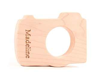 organic camera wood teether for infant baby - an all natural wooden teething toy, simple and safe for all ages