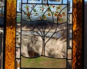Stained Glass Window Personalized Autumn Family Tree Large fall colors gold amber green orange red