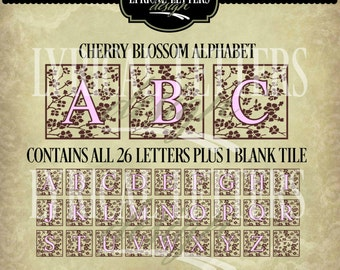 Alphabet svg set - Cherry Blossom - Vector - Cutting File - Graphic Design - Includes ai, svg,  jpg, png files