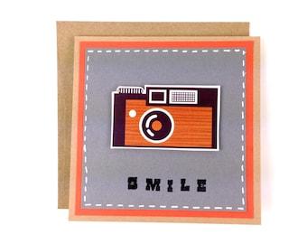 Leica Retro Vintage Camera Handmade Card - Smile Cute funny cards