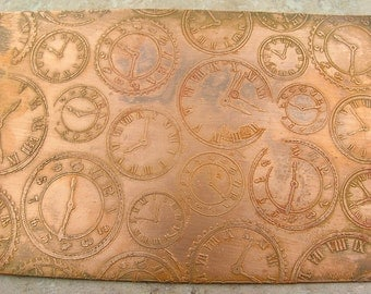 Etched Copper Sheet, Clock faces and Timepieces, 4x5.5 inches, 24g