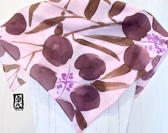 Silk Scarf Square, Gift for Women Scarf, Silk Scarf Handpainted, Pastel Pink and Brown  Scarf, Japanese Primroses Scarf, 22x22 inches.