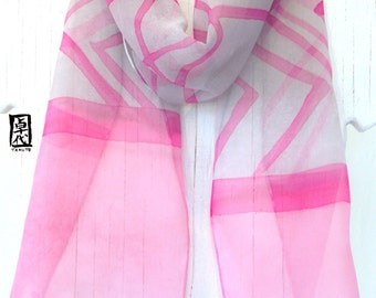 Small silk Scarf Hand painted, Pink and Gray Scarf, Zen Japanese Pink Stripes Scarf, Silk Chiffon Scarf, Silk Scarves Takuyo, 7.5x52 inches.