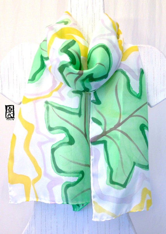 Silk Scarf Handpainted, Green and White Scarf, Chritsmas Gift, White Scarf, Green Tropical Leaves Scarf, Silk Scarves Takuyo, 11x60 inches
