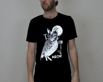 meowl cat owl tshirt