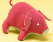 Pink Piggy Plush, mini plush toy, reclaimed sweaters, cashmere belly, soft stuffed animal