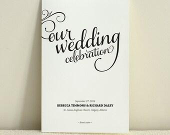 Romantic Script / Wedding Program / Order of Service / DIY Printable PDF Template