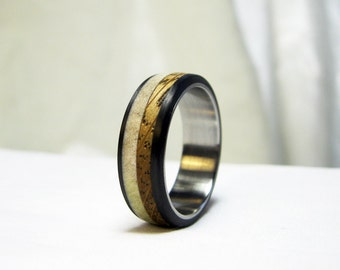 Antler and Oak Ring with Carbon Fiber and Steel