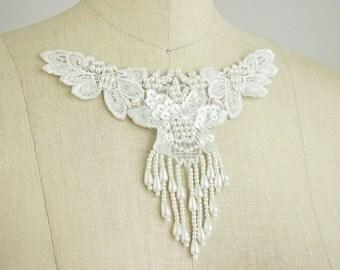 White Beaded Sequin Fringe Venice Lace Applique Collar / Bridal Applique / Venetian Lace / Neckline