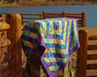 SPRING FEVER---  Gorgeous Fragmented Triangle Lap Quilt inspired by Kaffe Fassett