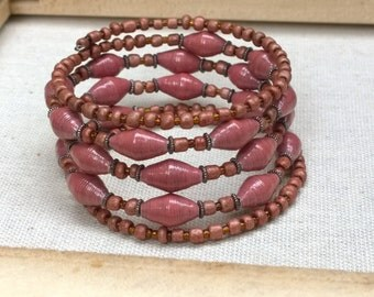 Red and brown paper bead memory wire bracelet ~ one of a kind statement jewelry ~ Reduced