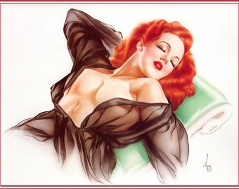 Vintage Redhead Pin-Up Girl by Alberto Vargas 1900s ~ NEW 8x10 Art Print Reproduction