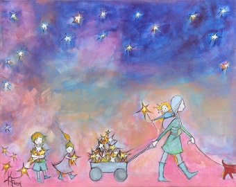 Evening Walk - little wagon - three children - corgi - baby wearing - starry print 8.5x11