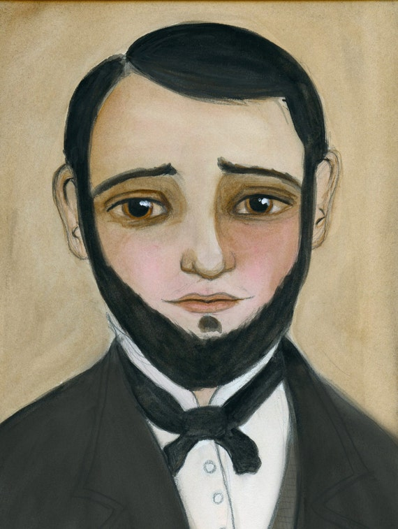Ambrose - Victorian Goth Photographer Portrait Illustration (6x8) Art Print