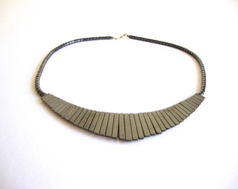 Hematite Bib Necklace: carved hematite stone necklace bib with hematite beads