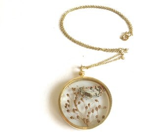 Flower Cameo: flower butterfly pedant terrarium pendant preserved on a gold tone chain