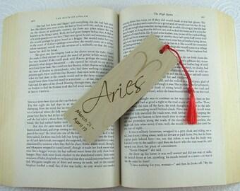 Zodiac Aries Wood Bookmark - Horoscope Bookmark - Pyrography - BKInspired